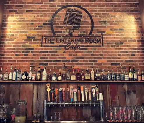 The bar at the Listening Cafe, a venue for singer-songwriters.