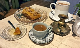Coffee and delicious baklava at Yiasemi, a cafe in the Plaka district.
