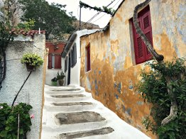 One of the houses on a quiet street near the Plaka neighborhood, in the shadow of the Acropolis.