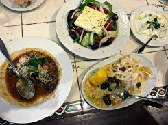 Our first and only dinner in Athens: lots of mezes.