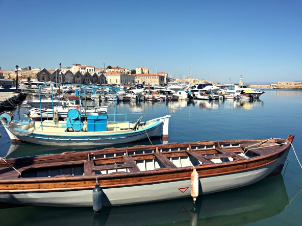 Along the waterfront in Chania.