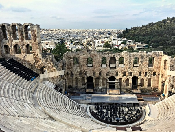 The Odeon of Herodes Atticus theater, located on the southwest slope of the Acropolis.