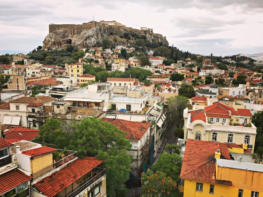 View of Athens and the Acropolis from the Electra Palace rooftop.