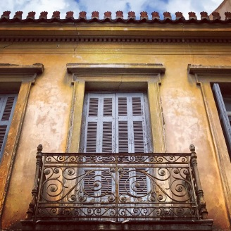 A pretty facade on Adrianou Street, one of the main pedestrian streets of the Plaka.