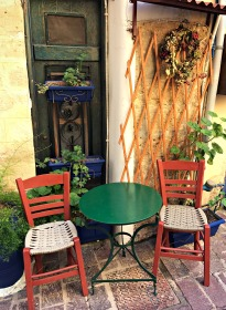 Table and chairs in a quiet neighborhood.