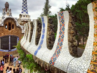 Along the Staircase, Parc Guell, Barcelona, Spain